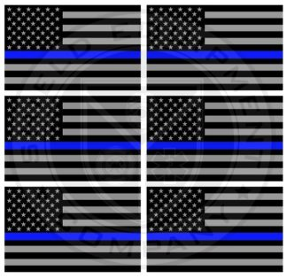 Blue Stripe American Flag Stickers x 6