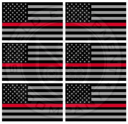Red Stripe American Flag Stickers x 6